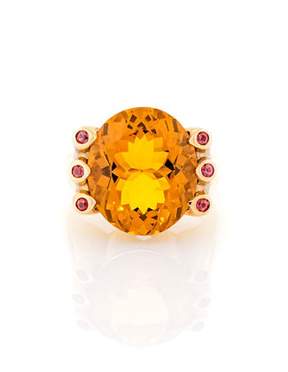 18K Yellow Gold Citrine and Ruby Ring