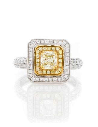 Radiant Fancy Light Yellow Diamond Halo Ring