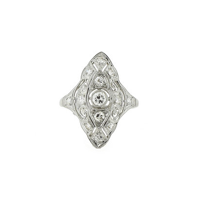 Vintage Platinum Dinner Ring with European Cut Diamond