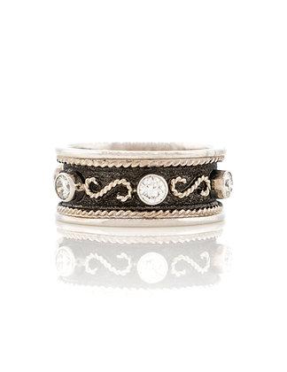 18k White Gold Diamond Byzantine Ring