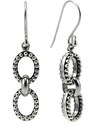 Indiri Sterling Silver Bali Thick Bead Drop Earrings