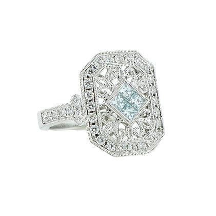 14k White Gold Blue and White Diamond Ring