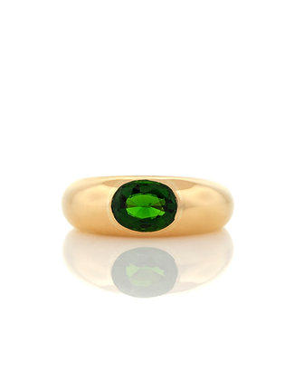 18K Yellow Gold and Bezel Set Chrome Diopside Ring