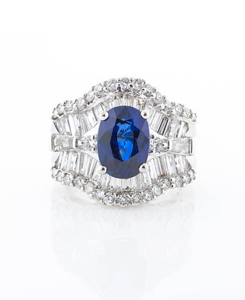 18k White Gold Sapphire and Diamond Ring, Size 6.5