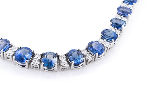 18k White Gold Sapphire and Diamond Necklace, 16 Inches