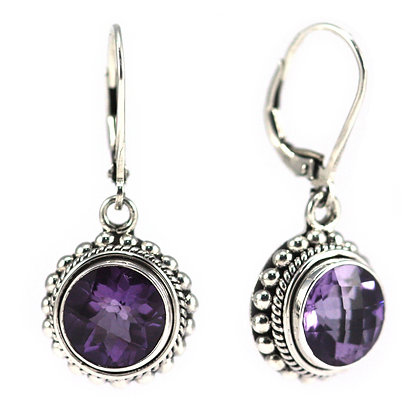 Indiri Sterling Silver Bali Amethyst Earrings
