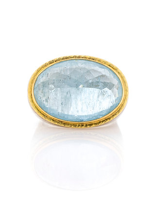 Sterling Silver and 18K Yellow Gold Aquamarine Ring
