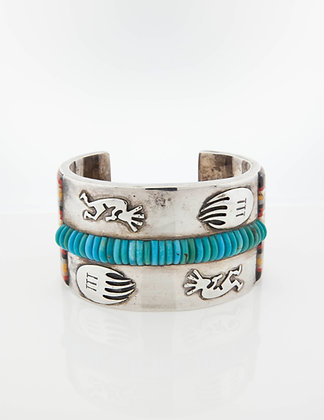 David Freeland Jr. Sterling Silver Matchstick Bangle with Turquoise and Inlay
