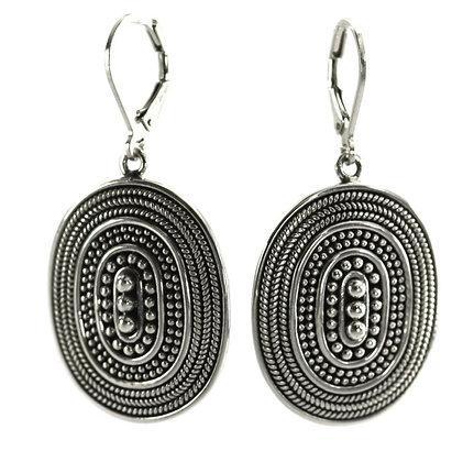 Indiri Sterling Silver Bali Oval Earrings