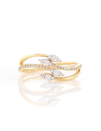14k Yellow Gold Four Branch Diamond Ring