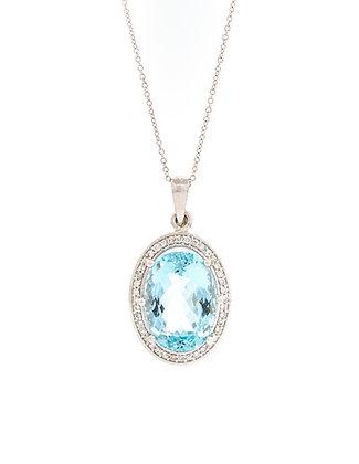14k White Gold Aquamarine And Diamond Necklace
