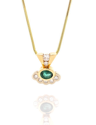 14k Yellow and White Gold Emerald and Diamond Neckless