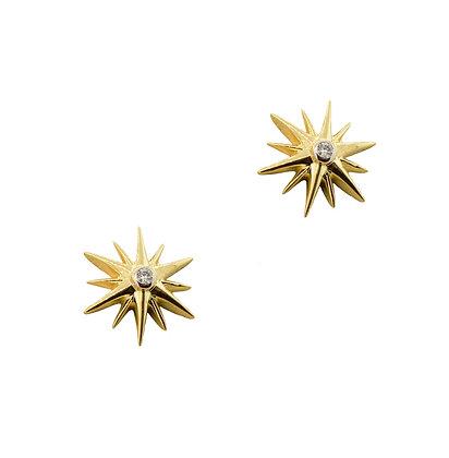 14k Yellow Gold Diamond Starburst Studs