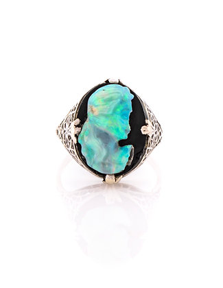 14k White Gold Onyx and Opal Cameo Ring