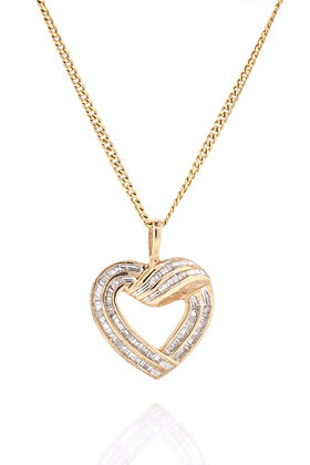 14k Yellow Gold Baguette Cut Diamond Heart Necklace, 17-18""