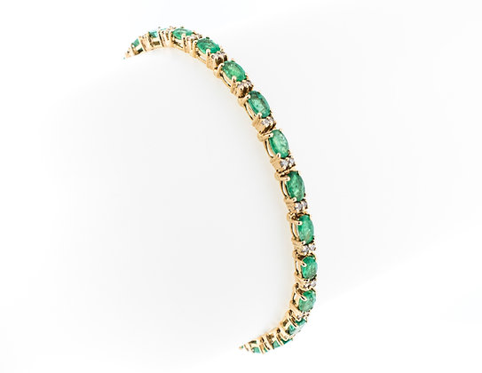 14k Yellow Gold Vintage Emerald Bracelet