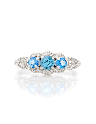 14k White Gold Blue Topaz Ring With Diamonds