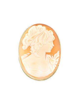 Two-Tone Vintage Cameo Brooch