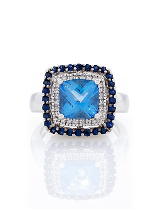 LeVian Blue Topaz and Sapphire Ring