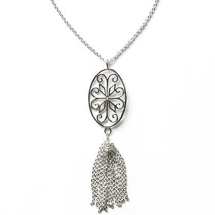 Southern Gates Sterling Silver Courtyard Scroll Tassel Necklace