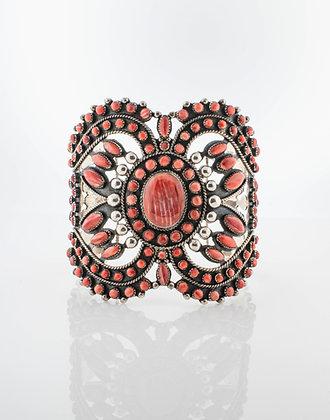 James Honyaktewa Sterling Silver Spiney Oyster Butterfly Bracelet