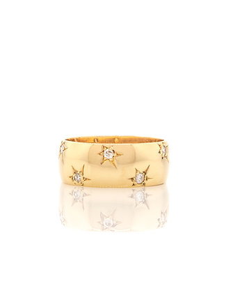14k Yellow Gold Wide Star Band with Diamonds
