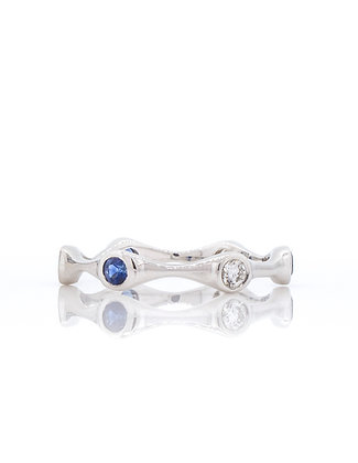 14k White Gold Sapphire and Diamond Stackable Ring