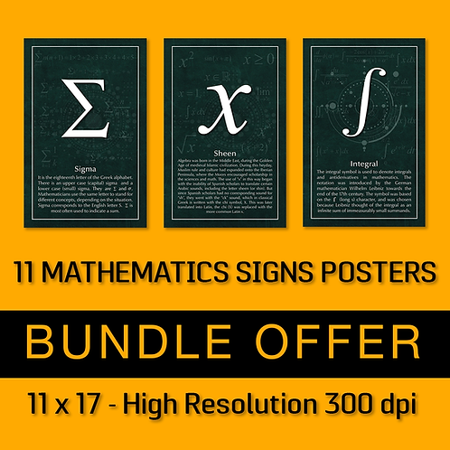 11 Mathematics Signs Posters