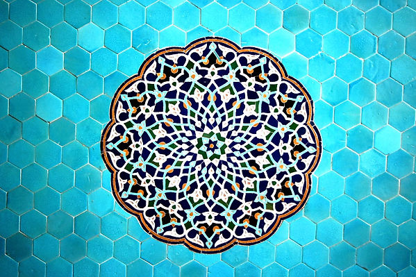 Tiles inside the Jame Mosque of Yazd, Persia, with geometric and vegetal patterns