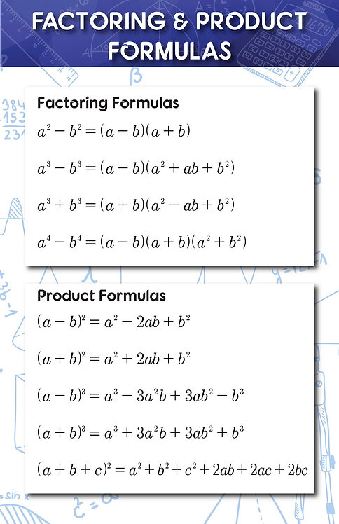 Factoring and Product Formulas