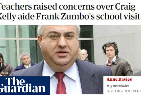 Teachers raised concerns over Craig Kelly aide Frank Zumbo's school visits