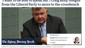 BREAKING: CRAIG KELLY MOVED TO CROSS BENCH