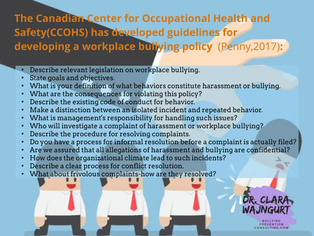 Guidelines for developing a Workplace Bullying Policy (Penny, 2017)