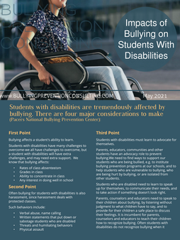 Impacts of Bullying on Students with Disabilities