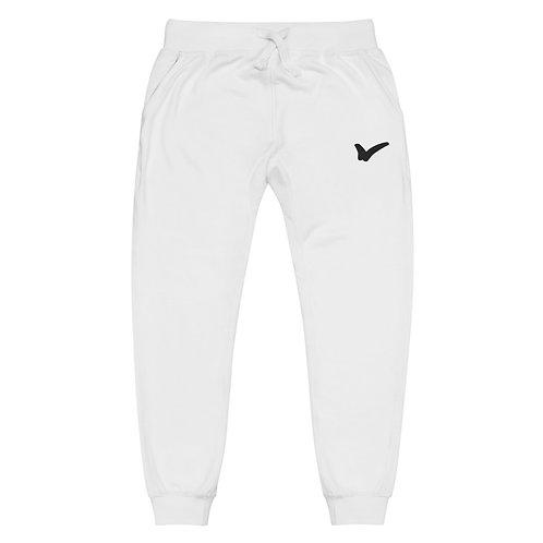 White Unisex fleece sweatpants