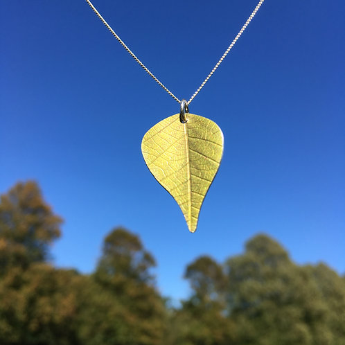Silver Birch  leaf pendant