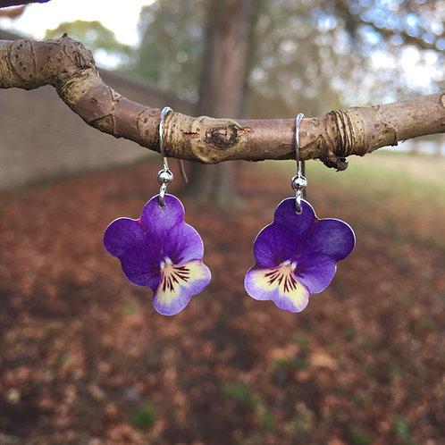 Viola flower earrings