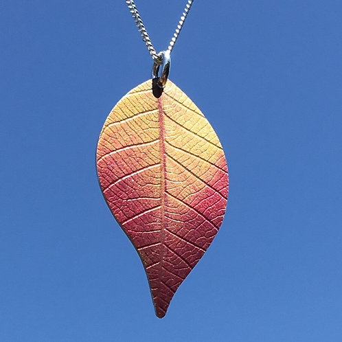 Pink Cherry leaf necklace