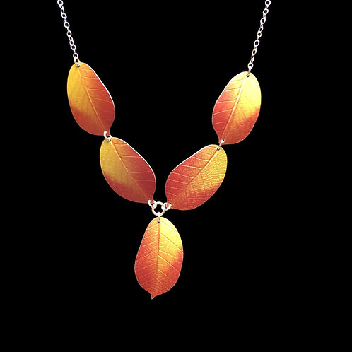 Golden Cherry leaf necklace