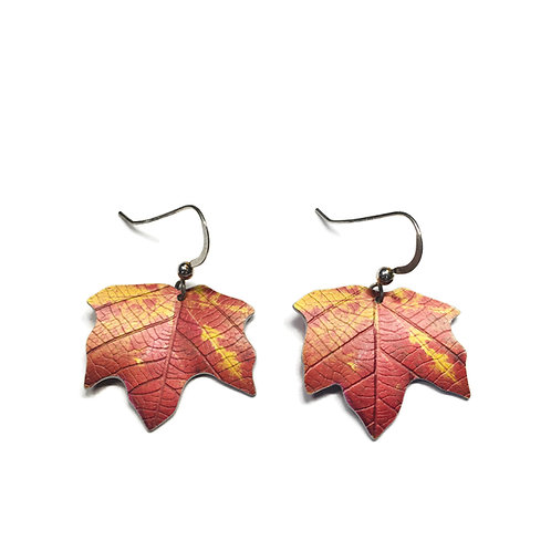 Red & gold Maple leaf earrings