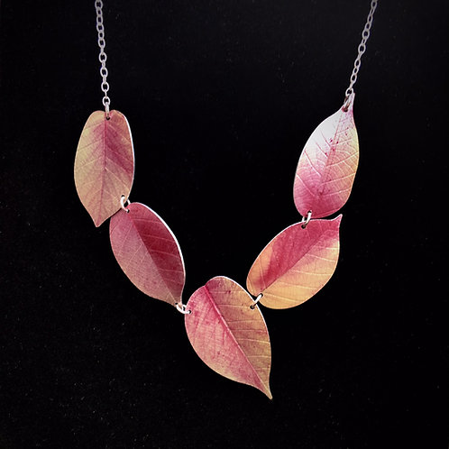 Asymmetric Pink Cherry leaf necklace