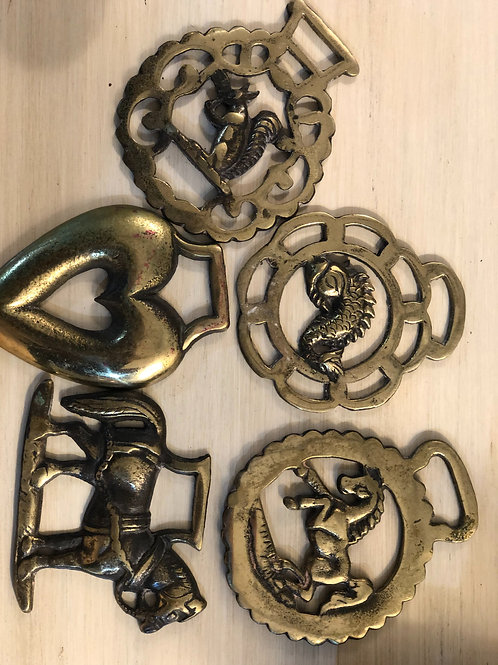 Irish brass bridle medallions