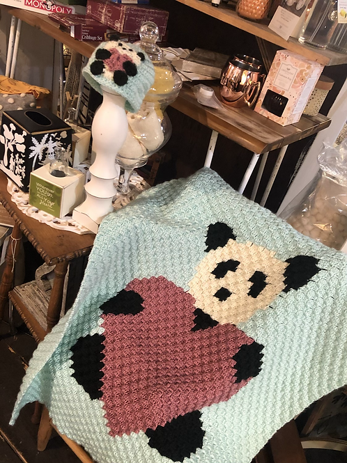 Panda love baby blanket locally made
