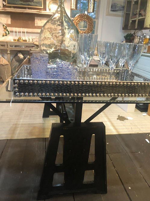 Modern industrial glass top dining table!