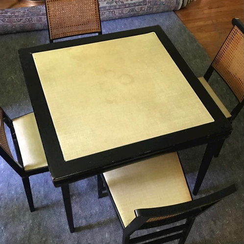 Legomatic vintage game table and cane chairs