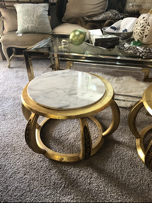 Vintage gold and Italian marble coffee table