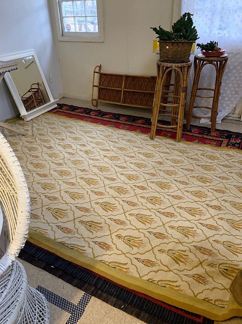 Beautiful wool hooked rug in cream and yellows