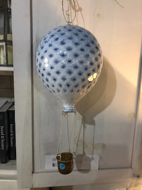 Add a little bit of whimsy with this hand blown glass hot air ballon