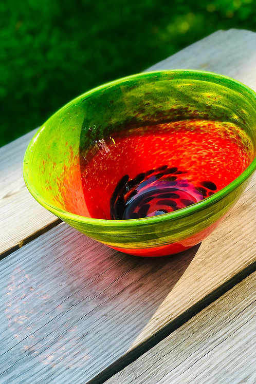 Our Watermelon Bowl is back!  Locally Hand Blown!