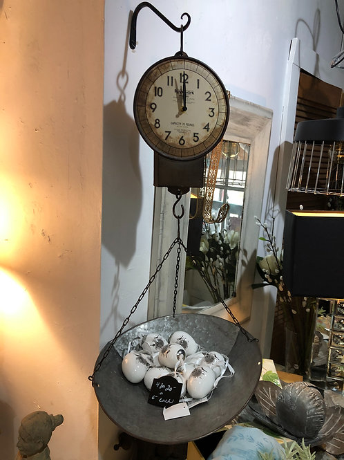Clock that looks like a vintage scale